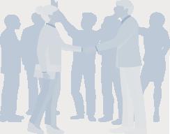 2 personer, der trykke i hænder foran en gruppe forretningsfolk