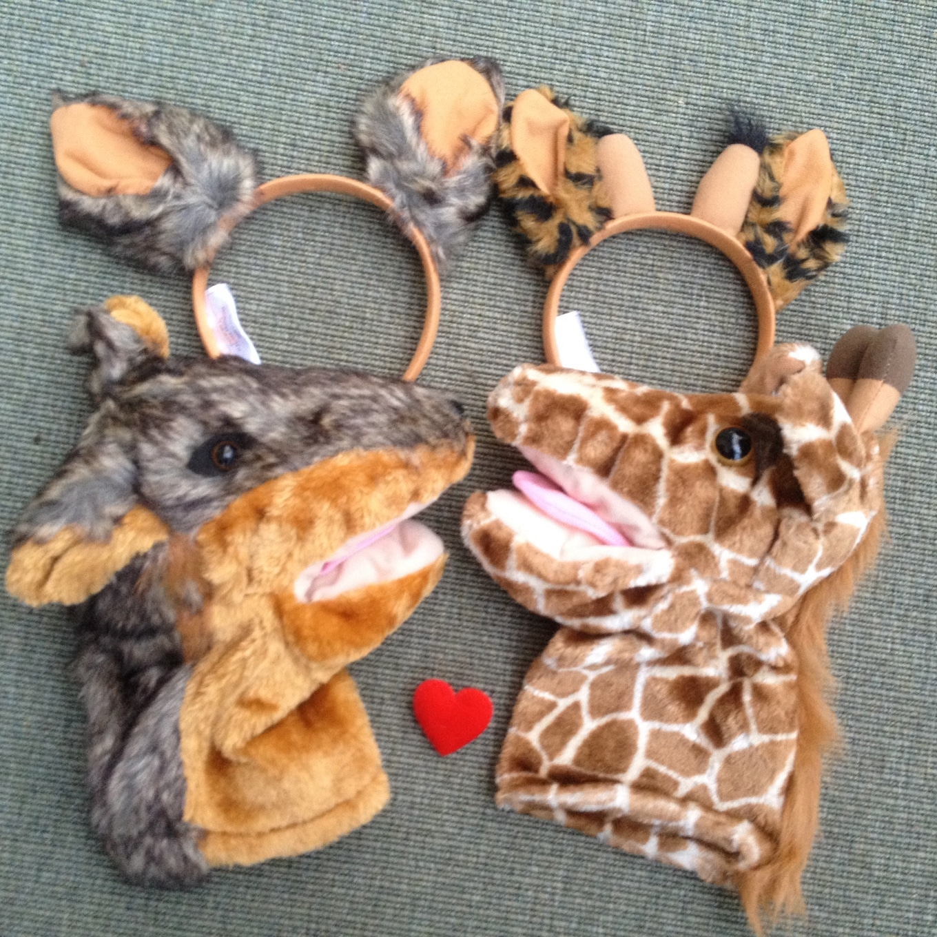 Jackal and Giraffe ears and puppets