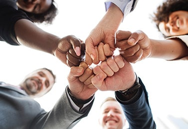 5 smiling business people in a circle with fists together in the middle