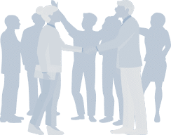 2 people shaking hands in front of a group of business people